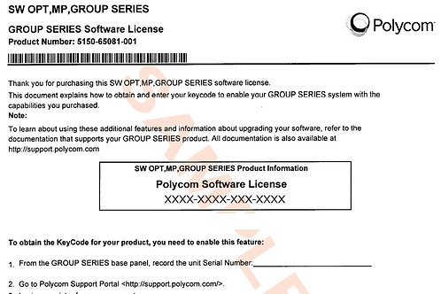 Polycom RealPresence Group 1080p HD Video Option License : 5150-65082-001
