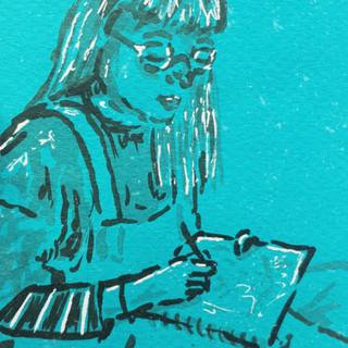 Alice doodling