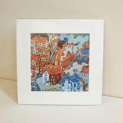 Robin Hoods Bay - Mounted Square Print