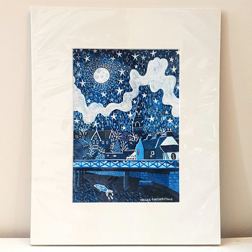 Ruswarp, Night Sky - Mounted Print