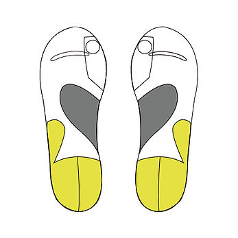 舟状骨が当たる人のカスタムパーツの貼り方