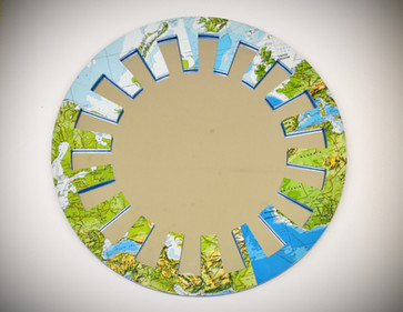 Wood Mirror decoupage with World Map