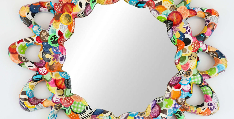 Multi color mirror, reds, greens, blues, yellows, oranges,