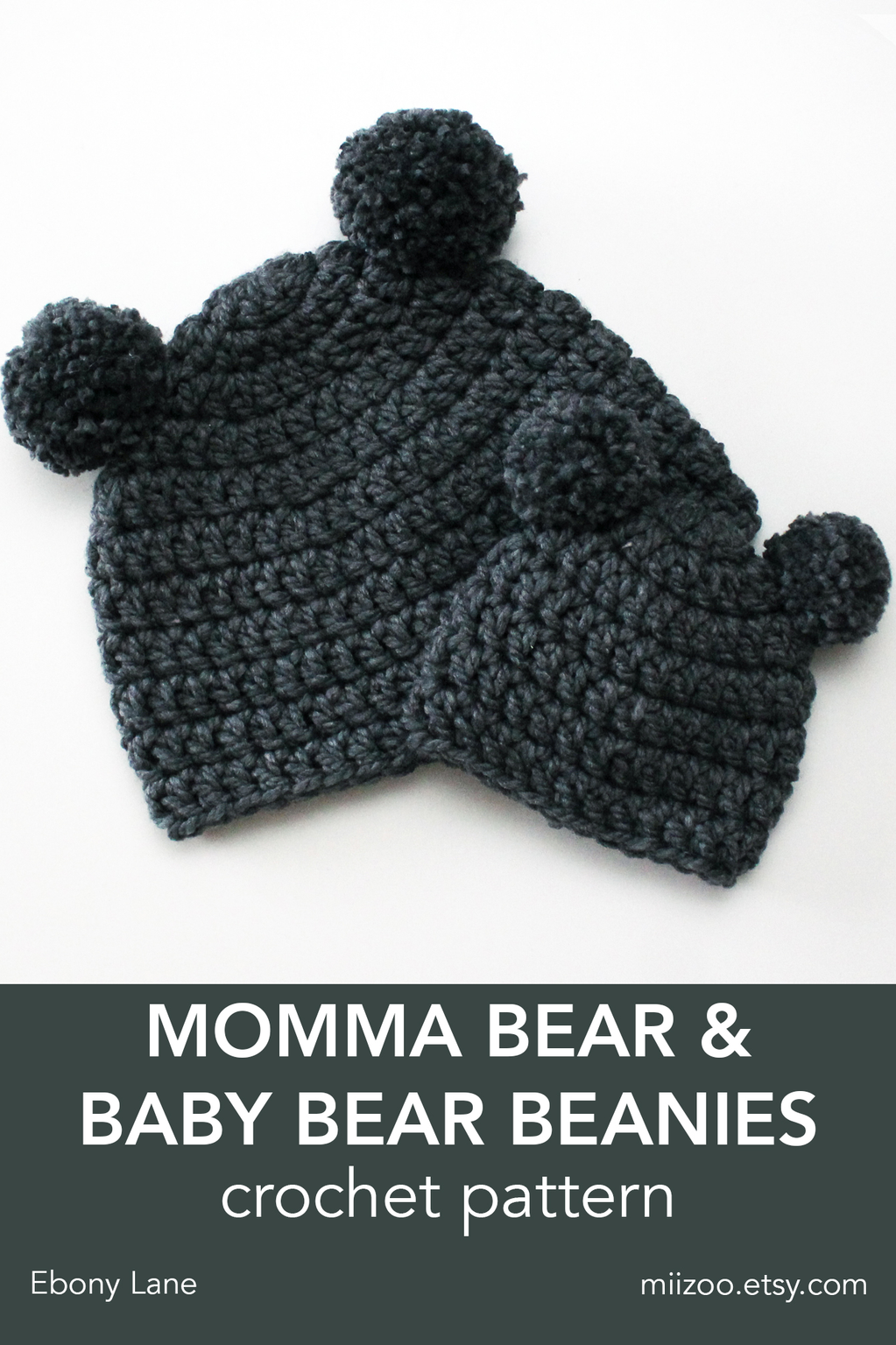 ee361e5d3d0 Momma Bear   Baby Bear Beanie Pattern