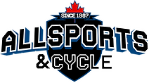Logo for Allsports & Cycle featuring the Canadian Flag and a banner that reads since 1987