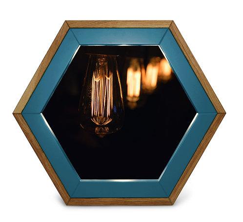 Зеркало с рамой из дуба и МДФ с эмалью Gaika темно-голубой