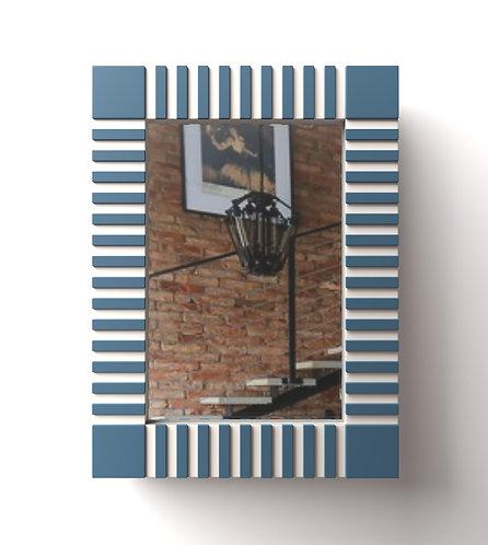 Зеркало Rail бело-голубое