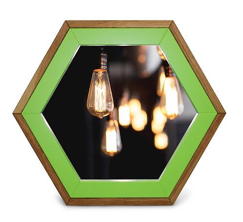 Зеркало с рамой из дуба с цветной эмалью Gaika зеленый