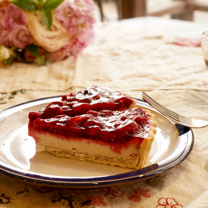 Raspberry Cheese Pie Slice