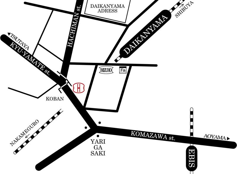 Directions from Daikan-Yama Station