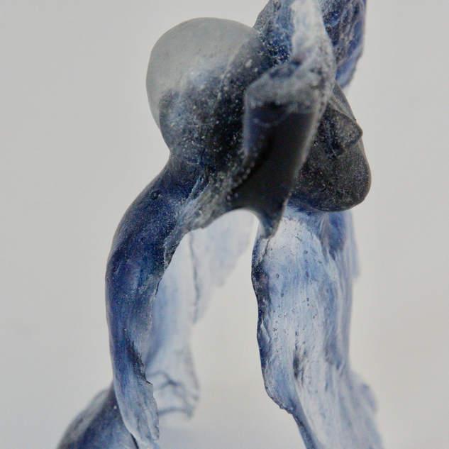 Twisted mind. Bullseye glass. Lost wax casting. h: 11 cm