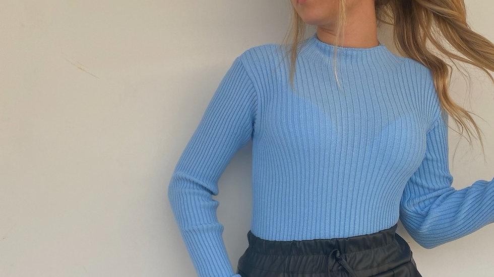 Blusa Gola Alta Canelada Azul