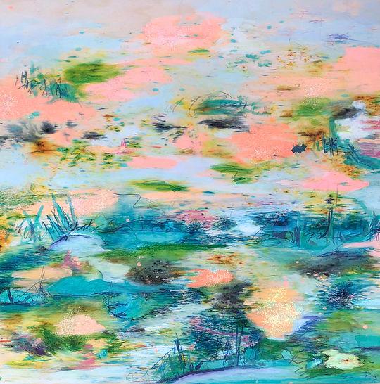 Painting, landscape, watercolor, glitter,