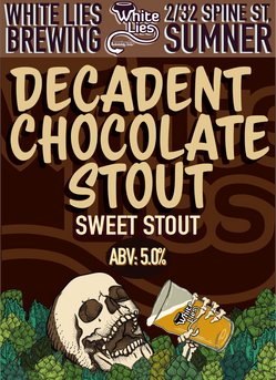 Decadent Chocolate Stout – Sweet Stout 5.0% ABV Silver Medal – AIBA 2016 deep black sweet stout with an aroma dominated by chocolate with subtle roast and coffee notes.