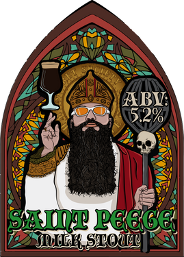 In the name of the Grain, the Yeast, and the Holy Hops.........we have a new beer for you. St Peege of Brewditos has come down from the heavens and brewed this tasty beer for the Secret Society of White Lies. Introducing, Saint Peege Milk Stout ABV: 5.2%