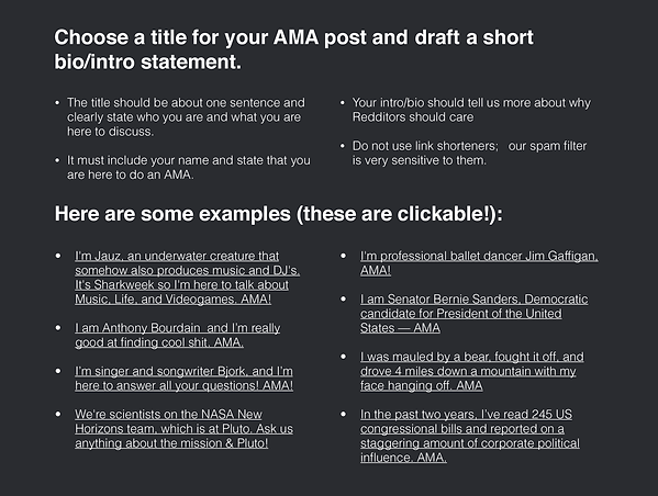 Best Practices and Examples for Reddit AMA