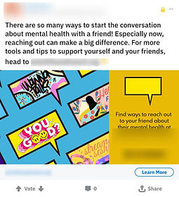 Example of Reddit Ads for Mental Health