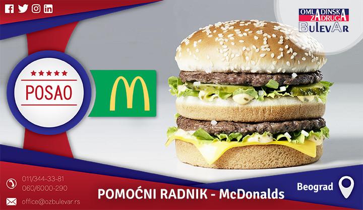 Beograd, Poslovi preko omladinske zadruge, Omladinska zadruga, McDonalds posao, posao u McDonaldsu, McDonalds piramida, novi beograd