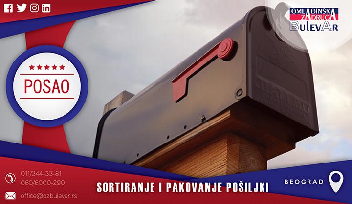 Beograd, Poslovi, Poslovi preko omladinske zadruge, Omladinska zadruga, pakovanje i sortiranje, sortirer, paker, pošiljka, brza pošta