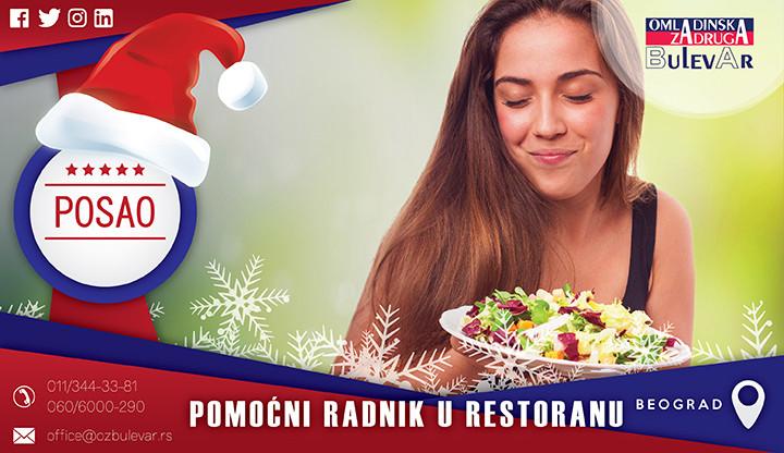 Beograd, Poslovi, Poslovi preko omladinske zadruge, restoran brze hrane, pomoćni radnik, šalter brze hrane, posao sa hranom,