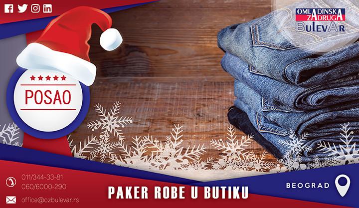 Beograd, Poslovi, Poslovi preko omladinske zadruge, Paker robe, pakovanje robe posao, posao u butiku