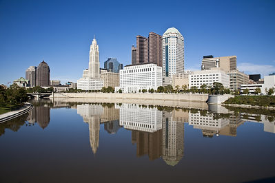 Columbus, Ohio skyline reflected in the