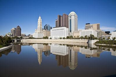 Columbus, Ohio skyline reflected in the
