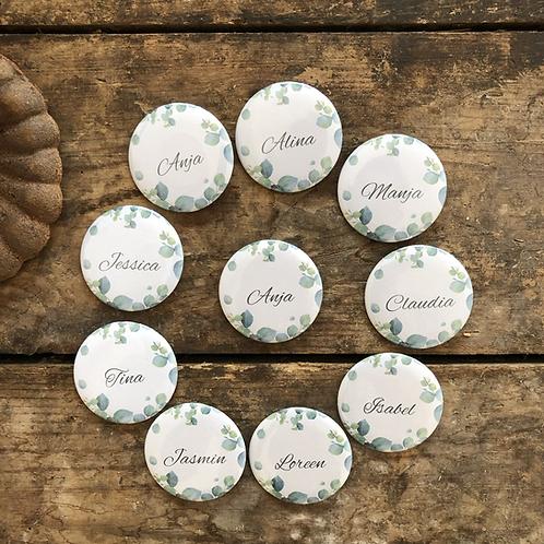 JGA Button Set Eukalyptus mit Namen