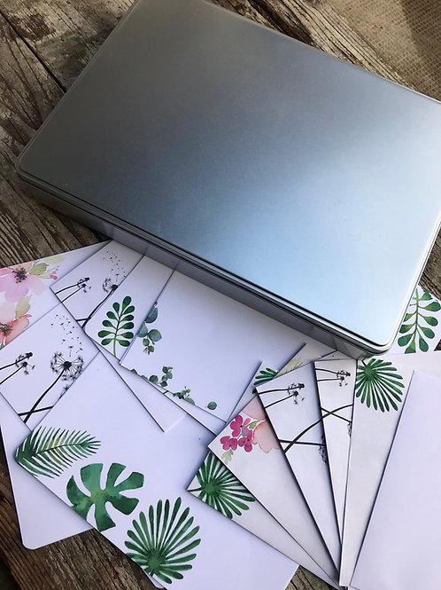 Florales Briefpapier-Set XXL + Geschenkdose
