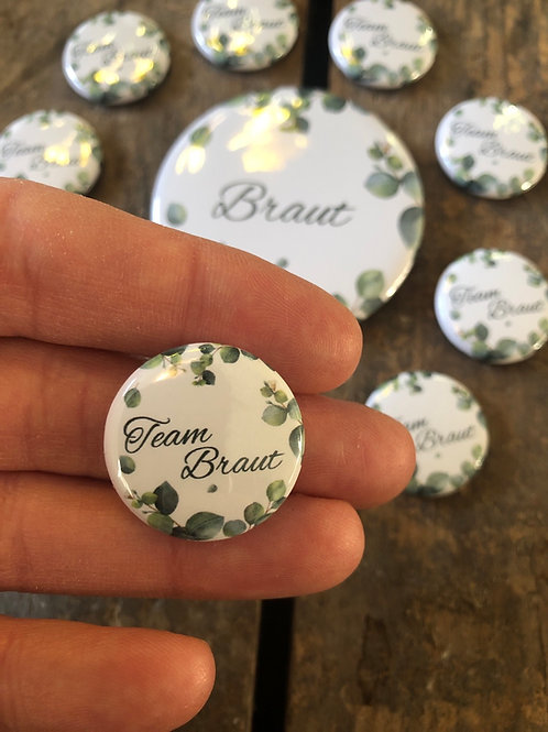 """Zusatz-Button """"Team Braut"""" EUKALYPTUS"""