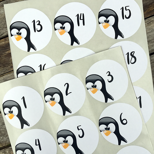 24 Adventskalender-Zahlen PINGUIN