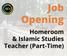 Paid Homeroom & Islamic Studies Teacher (Part-Time)