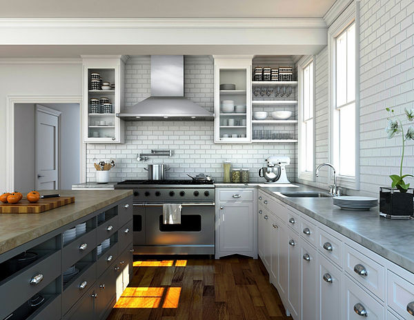 SCM Design Group clean white kitchen with low range hood