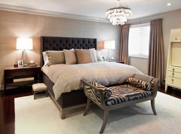 SCM Design Group neutral bedroom with zebra pattern accent bench