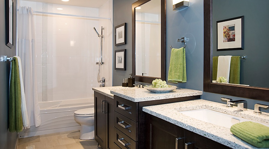 SCM Design Group blue wall bathroom