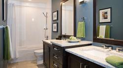 SCM Design Group blue wall bathroom