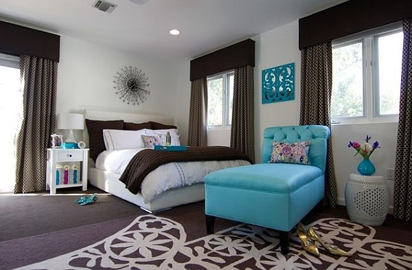 SCM Design Group dark chocolate and blue bedroom