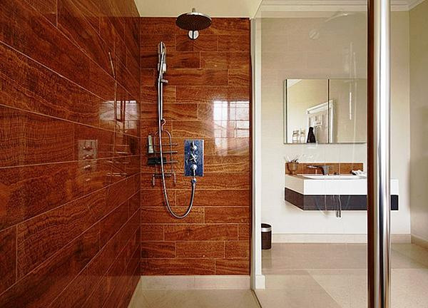 SCM Design Group wood tile in shower