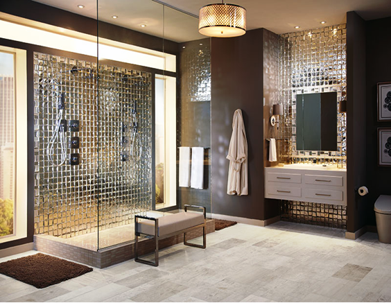 SCM Design Group abstract metallic tiles in modern bathroom