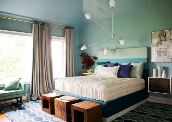SCM Design Group green and blue bedroom
