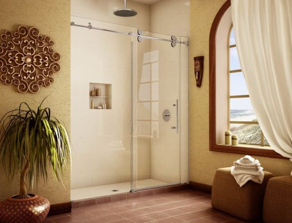 SCM Design Group frameless shower in tuscan style bathroom