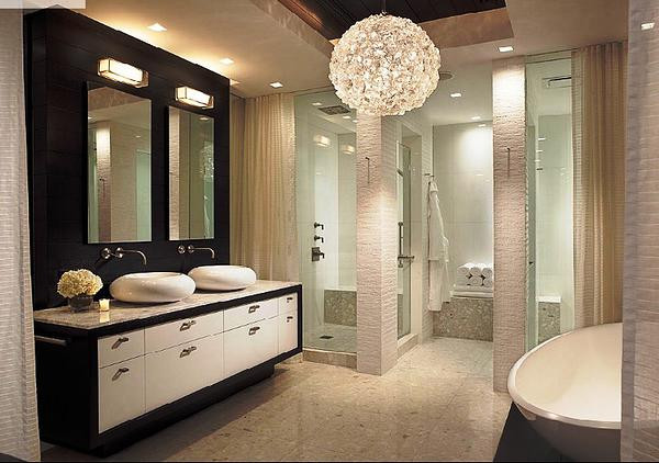SCM Design Group chic master bath with clustered sphere chandelier