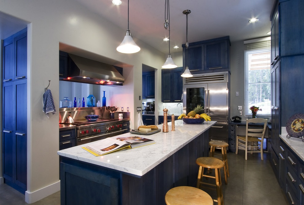 SCM Design Group modern blue kitchen