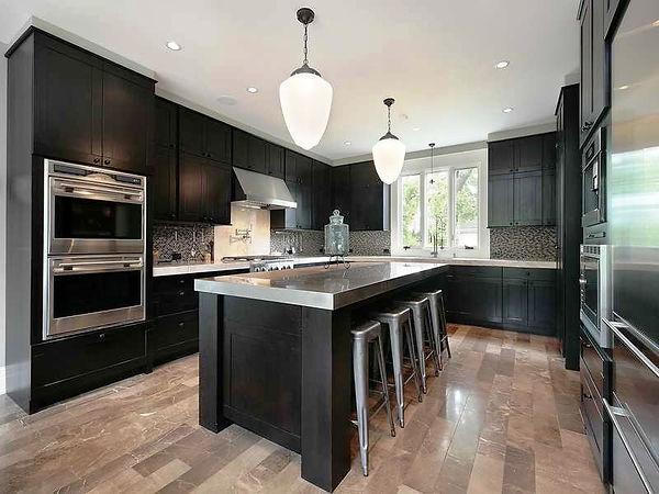 Modern kitchen, black cabinets