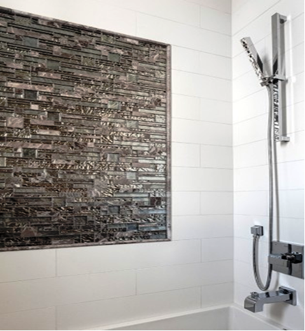 SCM Design Group shower wall with subway and mosaic glass tiles
