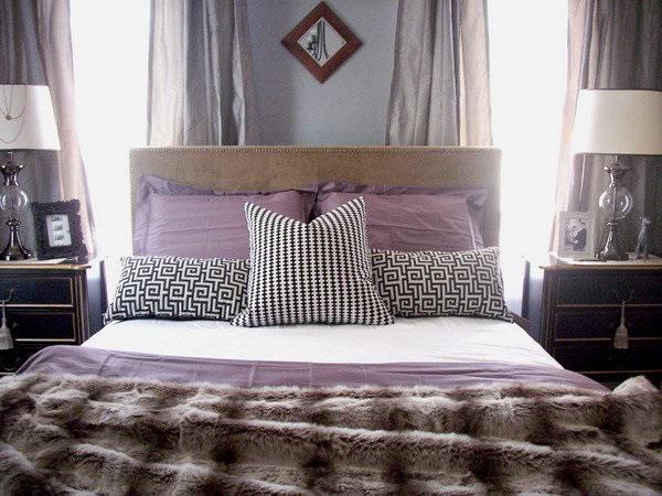 SCM Design Group black, white, and purple bedset
