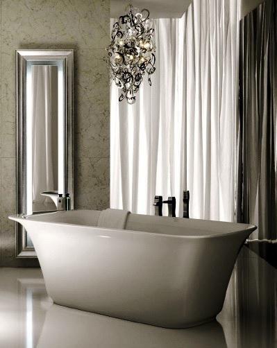SCM Design Group abstract chandelier over freestanding tub
