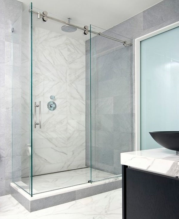 SCM Design Group frameless shower in grey bathroom