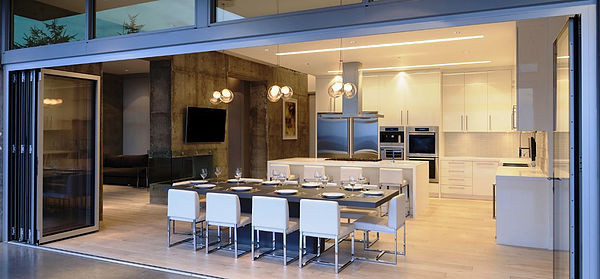  SCM Design Group operable glass walls in modern home