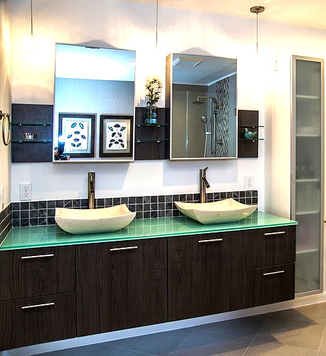 SCM Design Group green glass vanity counter